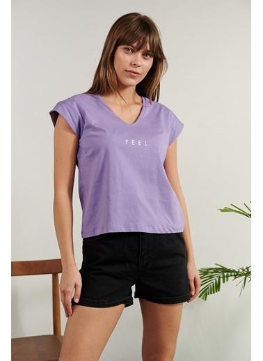 Levure Baskılı T-Shirt Lila